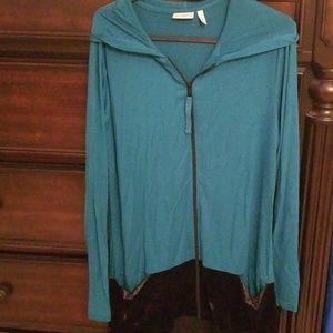 LOGO  Lori Goldstein jade green hoodie with velvet